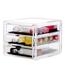 Stylish Clear Acrylic Cosmetic Jewelry Drawer Organizer 3 Chest of Drawer for Lipstick Nail Polish Makeup Brushes & Jewelry