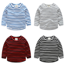 Casual Striped Boys T Shirt Spring Autumn Long Sleeve Girls Kids Pullover T-shirt 5 Color Baby Tops 2T 3T 4T 6T Boys Clothing