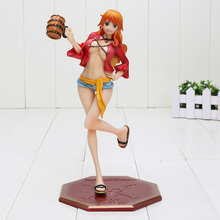 22.5cm Japanese Anime One Piece P.O.P Nami Dressed in Luffy Outfit with Casks Version PVC Figure New in Box