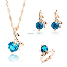 2016 Unique Peacock Blue Gems Water Drop Pendant Necklace Rings Jewelry Sets for Women Rose Gold Color Wedding Jewelry Set(China)