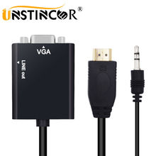 UNSTINCER MINI HDMI to VGA Adapter Femal HDMI VGA Converter with HDMI to VGA 3.5mm Jack Audio Cable HDMI to VGA Adaptor for PS4