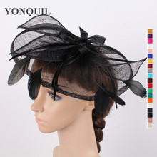Multiple color Sinamay hats kentucky fascinator hair accessories for wedding ladies cocktail hat black derby Headpieces for sale