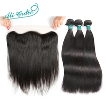 Ali Grace Hair Brazilian Straight Hair With Closure 3 Bundles Remy Human Hair With 13*4 Free Part Ear to Ear Lace Frontal (China)