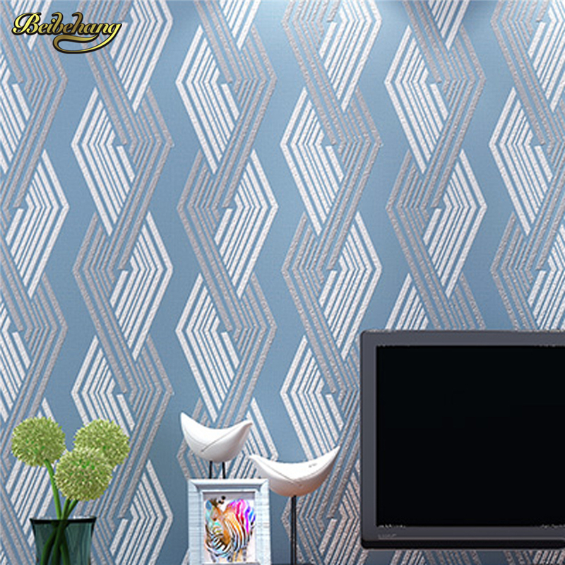 beibehang Modern lines Lingge TV background wallpaper 3D stereo relief abstract non - woven wallpaper papel de parede<br>
