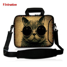 "Top Selling Messenger Briefcase Laptop Bag 15.6 14 17 12 10 13 15 12.1 12.2 11.6"" Cat Printing Neoprene Notebook Shoulder Cases"