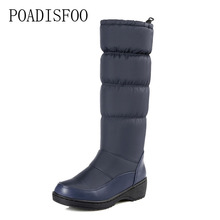 POADISFOO 2017 women winter knee high boots casual winter down snow boots popular round toe slip-on shoes high quality.X-85(China)