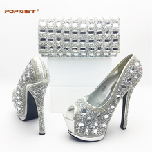 Big crystal shinning stones silver color Italian ladies shoes with bag set super high heels Fashion African shoes matching bags(China)