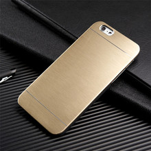 Luxury Brushed Metal Gold Phone Case For iPhone 5 5S SE 6 6S 7 Plus 4 4S Aluminum Hard PC Plastic Back Cover Case Capa(China)