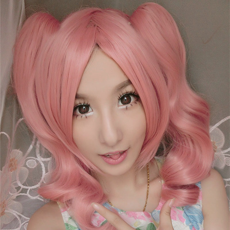 Inu X Boku SS Roromiya Karuta Cosplay Wig for Women Female 40cm Short Curly Wavy High Quality Heat Resistant Synthetic Hair Pink