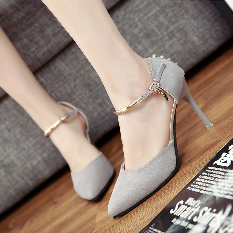 2016 summer hot new solid color fashion high heels pointed fine with shallow mouth singles shoes sexy word buckle free shipping<br><br>Aliexpress