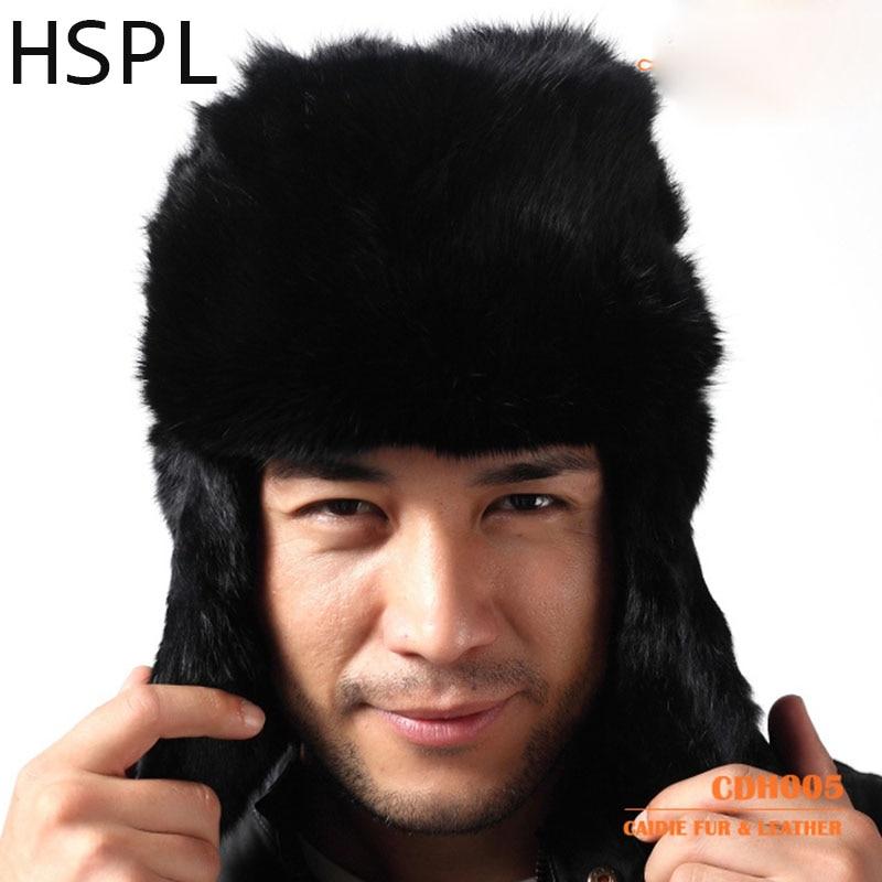 HSPL 100% Real Rabbit Fur Hat with Ear Flaps For Men in Winter For Keep WarmÎäåæäà è àêñåññóàðû<br><br>