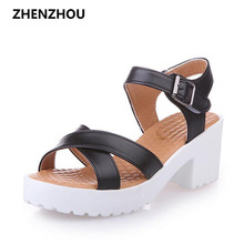 Big size 35-43 Free shipping Sandal women summer Thick with 2017 women's shoes buckles with a wide range of sizes and sandals
