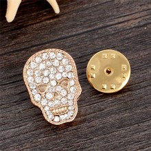 H:HYDE Fashion Luxury Gold Silver Color Brooches Shiny Full Crystal Skull Brooch Pins For Women men Wholesale