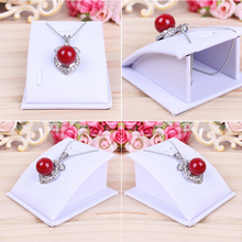 2017 Hot Sale 16pcs/lot Black Velvet White PU Leather Lovely Jewelry Holders Necklace Bracelet Show Display Stand(China)