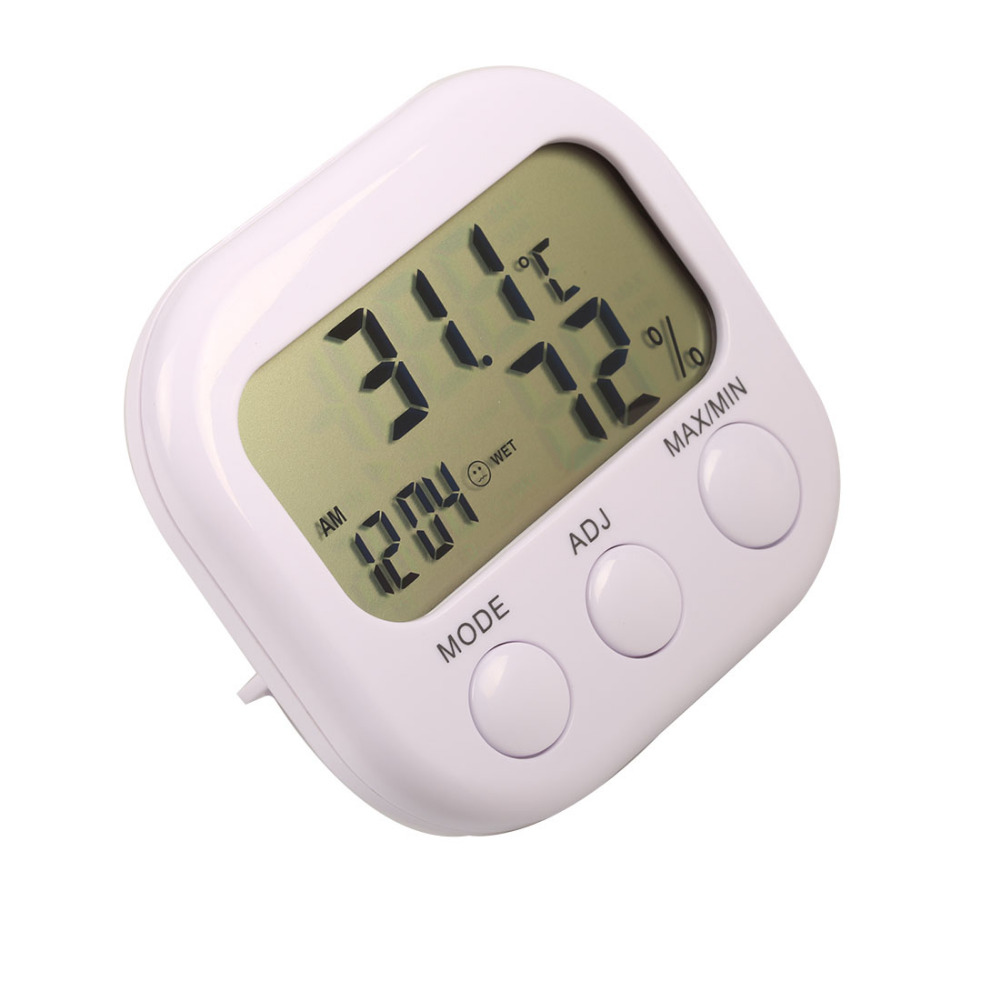 New Weather Station LCD Digital Thermometer Hygrometer Temperature Humidity Meter Gauge With Clock