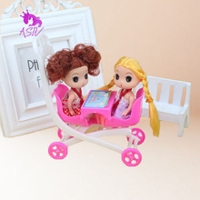 Rosana Plastic Baby Stroller Infant Trolley for Barbie Doll's House Double Baby Carriage Trolley for Kelly Doll Accessorie Gift
