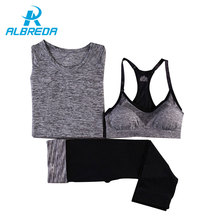 Buy ALBREDA 2017 Women Yoga Sport Suit Bra Set 3 Piece Female Short-sleeved Summer Fitness Sportswear Gym Running Workout Clothes for $21.01 in AliExpress store
