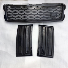 3 PCS/SET Fit for Land Rover Range Rover Vogue 2014 2015 2016 2017 SVO Black Front Bumper Hood Center Grille With Air Vents Kit(China)