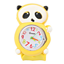 Kids Cartoon Small Panda Dial Quartz Watch Silicone Bracelet Slap Ring Wristwatches Casual Sport Watch for Childs Girls Boys(China)
