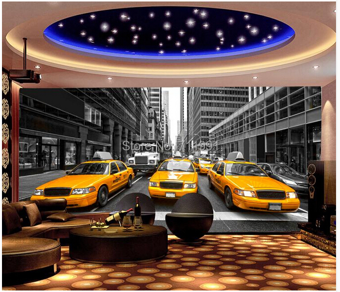 Free shipping custom- modern 3D mural bedroom living room TV backdrop wallpaper streets of New York Restaurant Yellow Car Taxi<br><br>Aliexpress