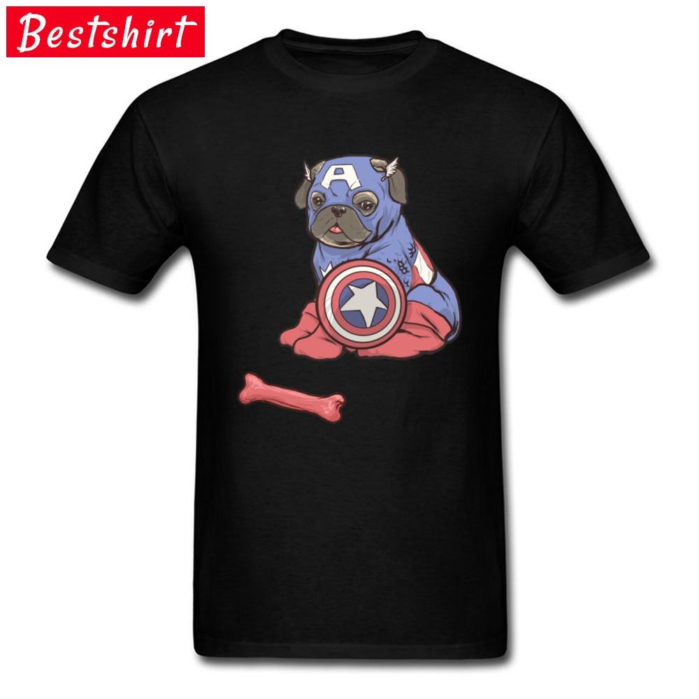 Custom Captain AmeriPUG T-shirts Funny Labor Day Short Sleeve Crew Neck T Shirt 100% Cotton Men Personalized Tees Captain AmeriPUG black