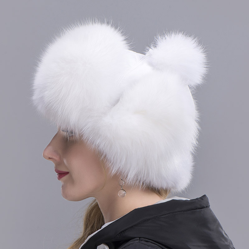 fox fur hat woman white 7