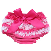 For Pregnant Mother Girl PP Shorts Cute Baby Girls Short Pants Cotton Layers Chiffon Ruffled Newborn Bloomer Kids Diaper Covers(China)