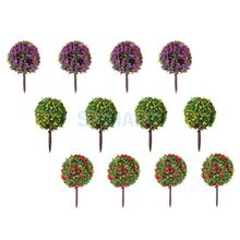 SPMART New quality 30pcs Mixed 3 colors Flower Model Train HO Trees Ball Shaped Scenery Landscape 1/87 Scale