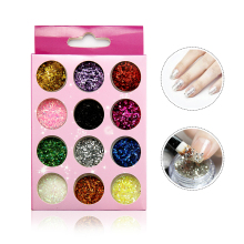 Hot Nail Art Gel Tips Professional Glitter  Powder Nail Art Decorations Glitter For Nail Tools