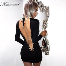 NATTEMAID 2018 Spring Summer Style Dress sexy Women O Neck Long Sleeve Backless Bodycon Slim Pencil Party Dresses black vestidos(China)