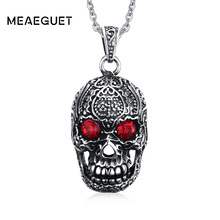 Meaeguet Punk Stainless Steel Large Sugar Skull Pendant Necklace for Man with Red Cubic Zirconia with 50cm Chain(China)