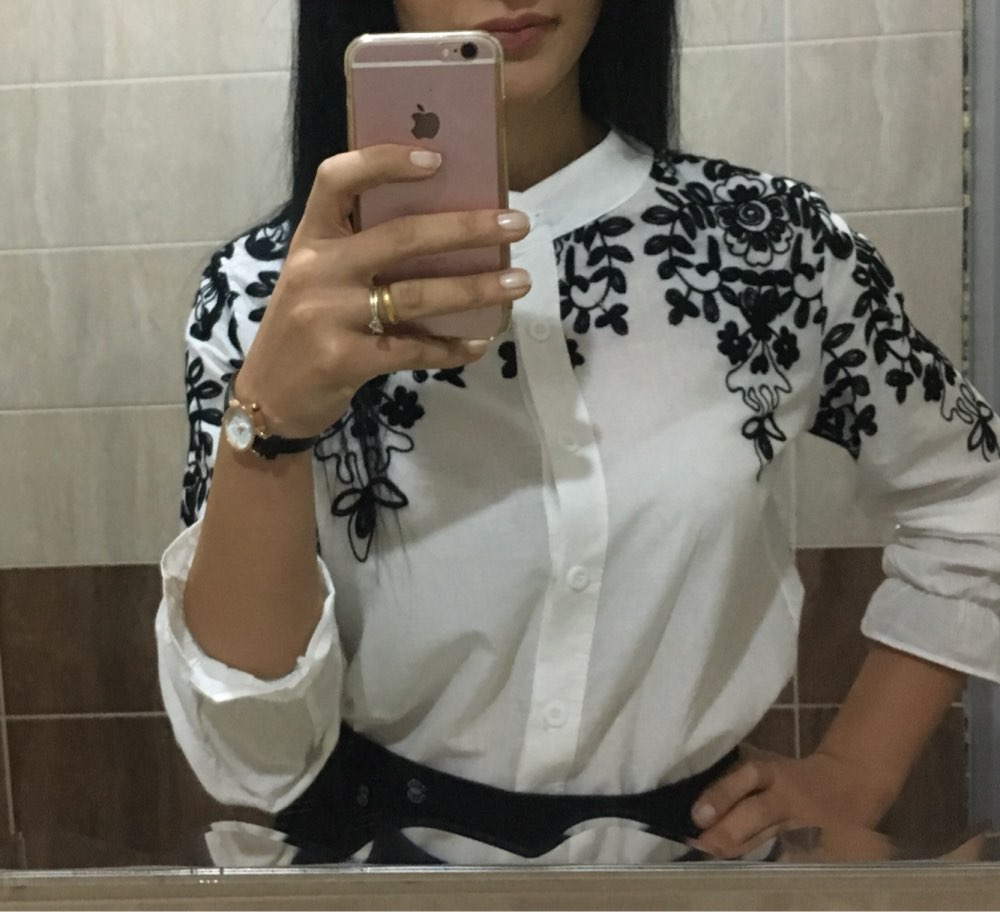 2015-spring-and-summer-new-European-gauze-blouse-embroidered-flowers-organza-long-sleeved-white-shirt-high