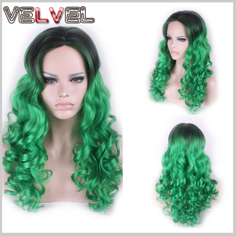 Fashion Heat Resistant Ombre Black Green Two Tone Gradient Wig Lady Wigs Long Curly High Quality Skin Top Hair Wigs+Free wig cap<br><br>Aliexpress