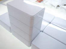 New Arrival 150X100X50mm White candy jewelry metal storage container case biscuit tin box(China)
