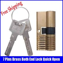 7 Pins Brass Both End Lock Practice tool With 2 Keys professional locksmith supplies(China)