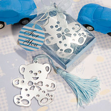 Factory Directly Sale Wedding Favor Baby Shower Blue Lovable Teddy Bear Design Bookmarks Baby Shower Favors(China)