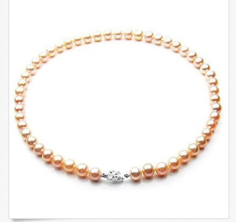 "gorgeous 9-10mm south sea gold pink pearl necklace 18""silver KKK"