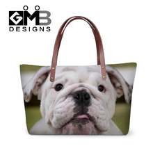 Dispalang hot sale women fashion 3D dog head printed handbag personalized customized animals totes bags brand designer beach bag