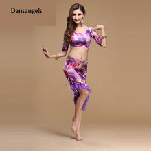 Dansangels Half-sleeve O-neck Sexy Belly dance Irregular Skirt set for women/female dancers, gypsy performance costumes V190(China)