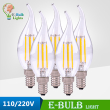LED filament bulb E14 base tail candle lightbulb 110V/220V led incandescent bulb bombilla lamp light Chandelier pendant lighting