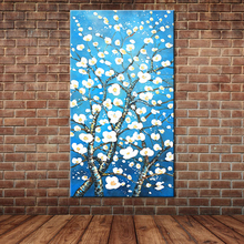 Modern Blue Art Almond Blossoms Oil Painting on Canvas Hand Painted Tree Wall Mural Picture Decoration (No frame )