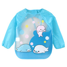 DreamShining Cartoon Baby Bibs Colorful Long Sleeve Apron Waterproof Toddler Feeding Bibs Burp Cloths Children Painting Clothes(China)