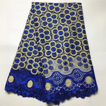 Miyoke African Tulle Lace Fabric 2017 Blue French Lace Fabric High Quality With Stones Nigerian Embroidery Mesh Lace #3343-2
