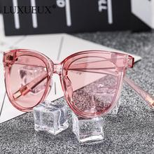 LUXUEUX Blue Ocean Crystal Lens Sunglasses Women Brand Designer Top Fashion PC Frame Popular TV Series With Sun glasses For Men(China)