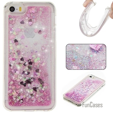 Coque Etui Bling Love Heart Stars Soft TPU Phone Case Cover For iPhone 5S Funda Quicksand Cell Phone Case For iPhone 5 5S SE 5G(China)