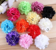 "10pcs/lot 2"" 12 Colors Hair Clips Mini Tulle Shimmer Chiffon Flowers Flat Back Flowers Photo Prop For Headbands Hair Accessories(China)"