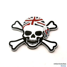 Rhino Tuning Metal Skull Head Pirate Union Jack Flag Badge Emblem Auto Body Wing Side Fender Boot Trunk Sticker