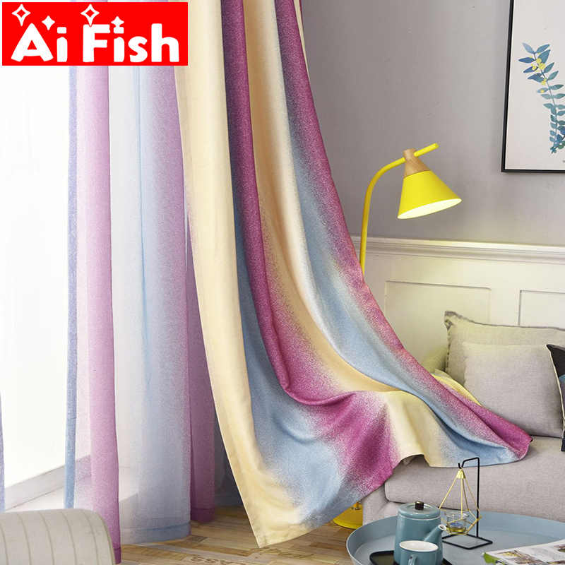 Modern Purple Wavy Gradient Stripe Blackout Curtains For Living Room All-match Sheer Tulle Fabric Bedroom Blinds Drapes DF107-30