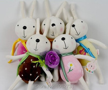 6 pcs/lot 16cm Lovely Easter Decoration Easter Rabbit Plush With Sling Easter Bunny Toy
