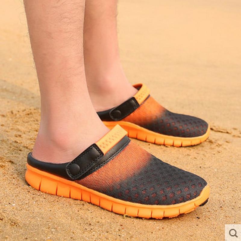 Man Woman 2017 New Hole Garden Cloges Shoes Plus Size Summer Net Flats Beach Sandals Mules Slippers zapatillas hombre Size 39-46<br><br>Aliexpress